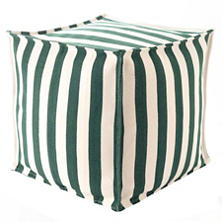 Trimaran Stripe Pine/Ivory Indoor/Outdoor Mini Pouf