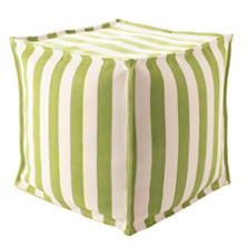 Trimaran Stripe Sprout/Ivory Indoor/Outdoor Mini Pouf