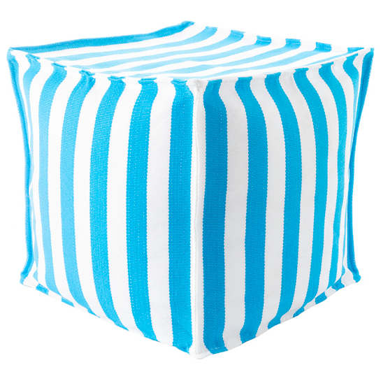 Trimaran Stripe Turquoise/White Indoor/Outdoor Mini Pouf