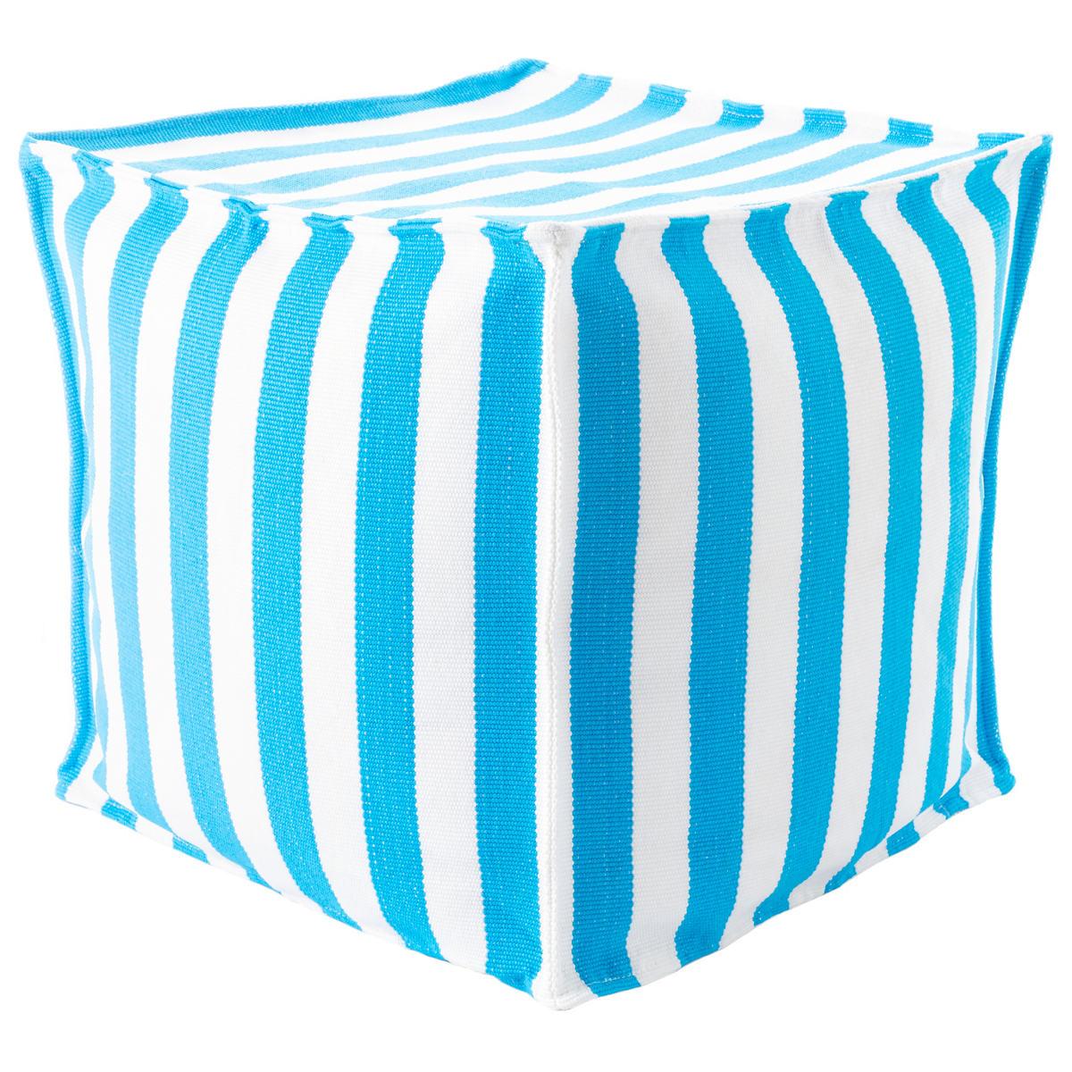 Trimaran Stripe Turquoise/White Indoor/Outdoor Mini Pouf