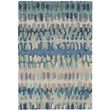 Paint Chip Blue Micro Hooked Wool Rug