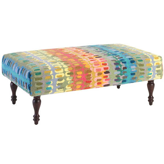 Paint Chip Turned Tobacco Leg Rug Ottoman