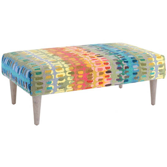 Paint Chip Tapered Cerused Oak Leg Rug Ottoman