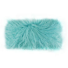 Pale Teal Longwool Tibetan Sheepskin Decorative Pillow