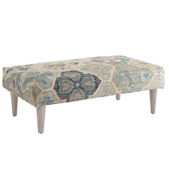 Pali Blue Tapered Cerused Oak Leg Rug Ottoman