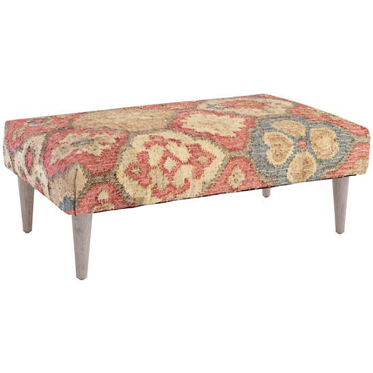 Pali Tapered Cerused Oak Leg Rug Ottoman