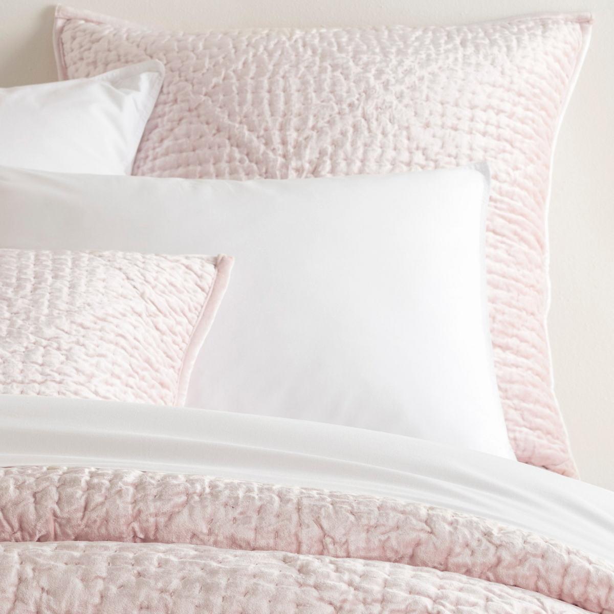 Parisienne Velvet Slipper Pink Quilted Sham
