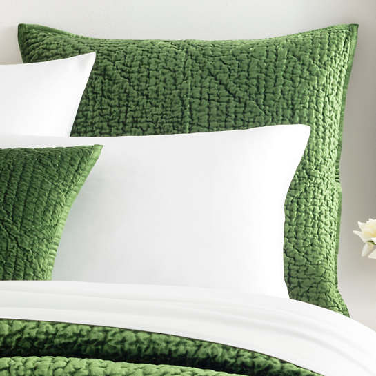 Parisienne Velvet Evergreen Quilted Sham