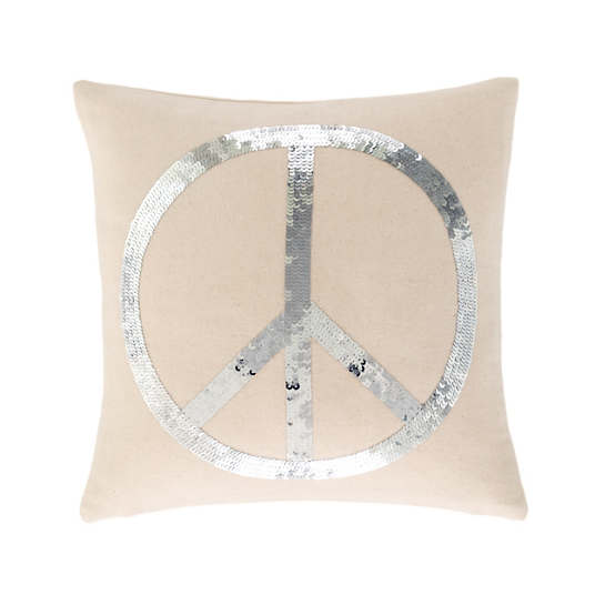 Peace Embroidered Silver Decorative Pillow