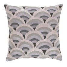 Peacock Embroidered Grey Decorative Pillow