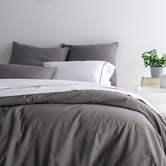 Essential Percale Grey Duvet Cover