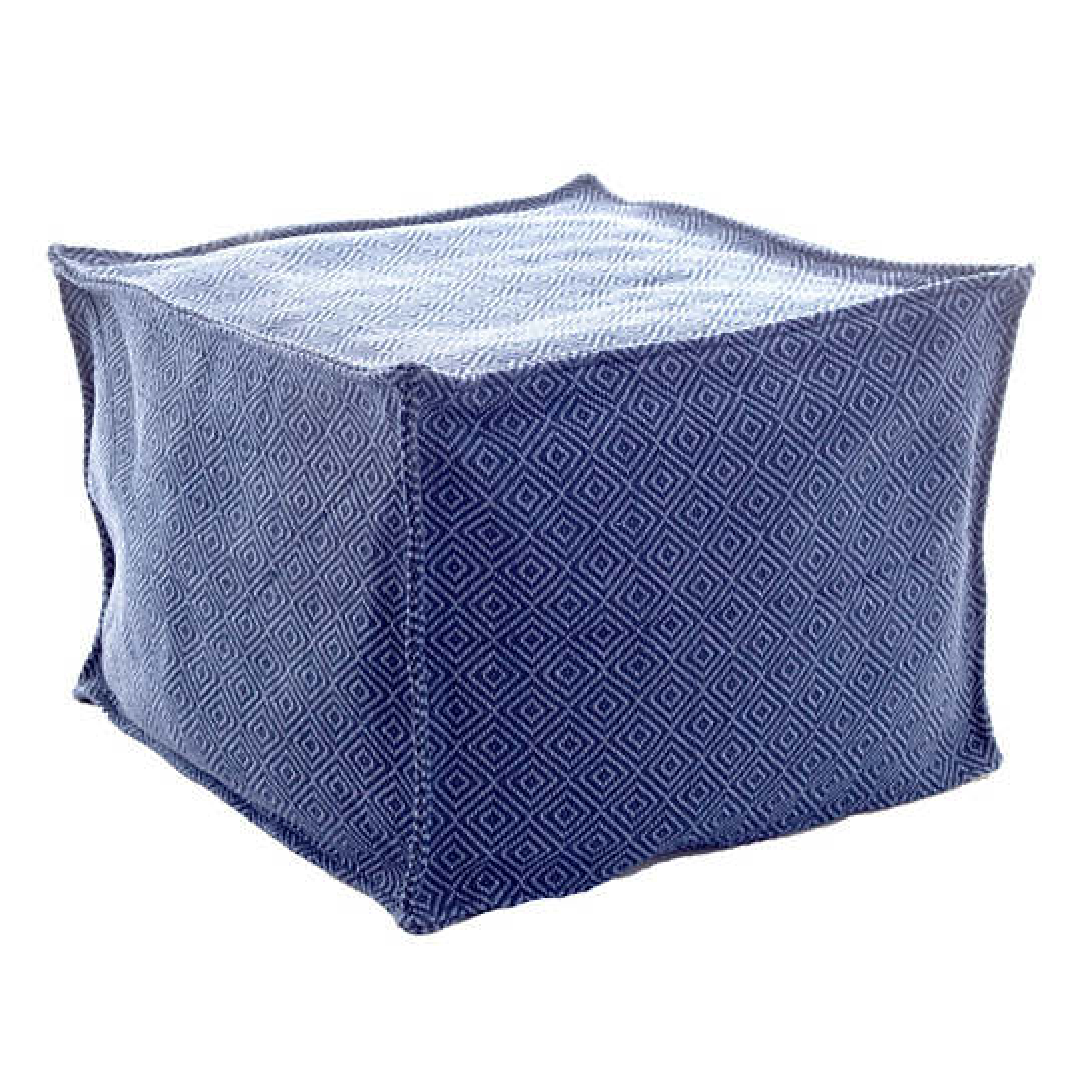 Petit Diamond Navy/Denim Indoor/Outdoor Pouf