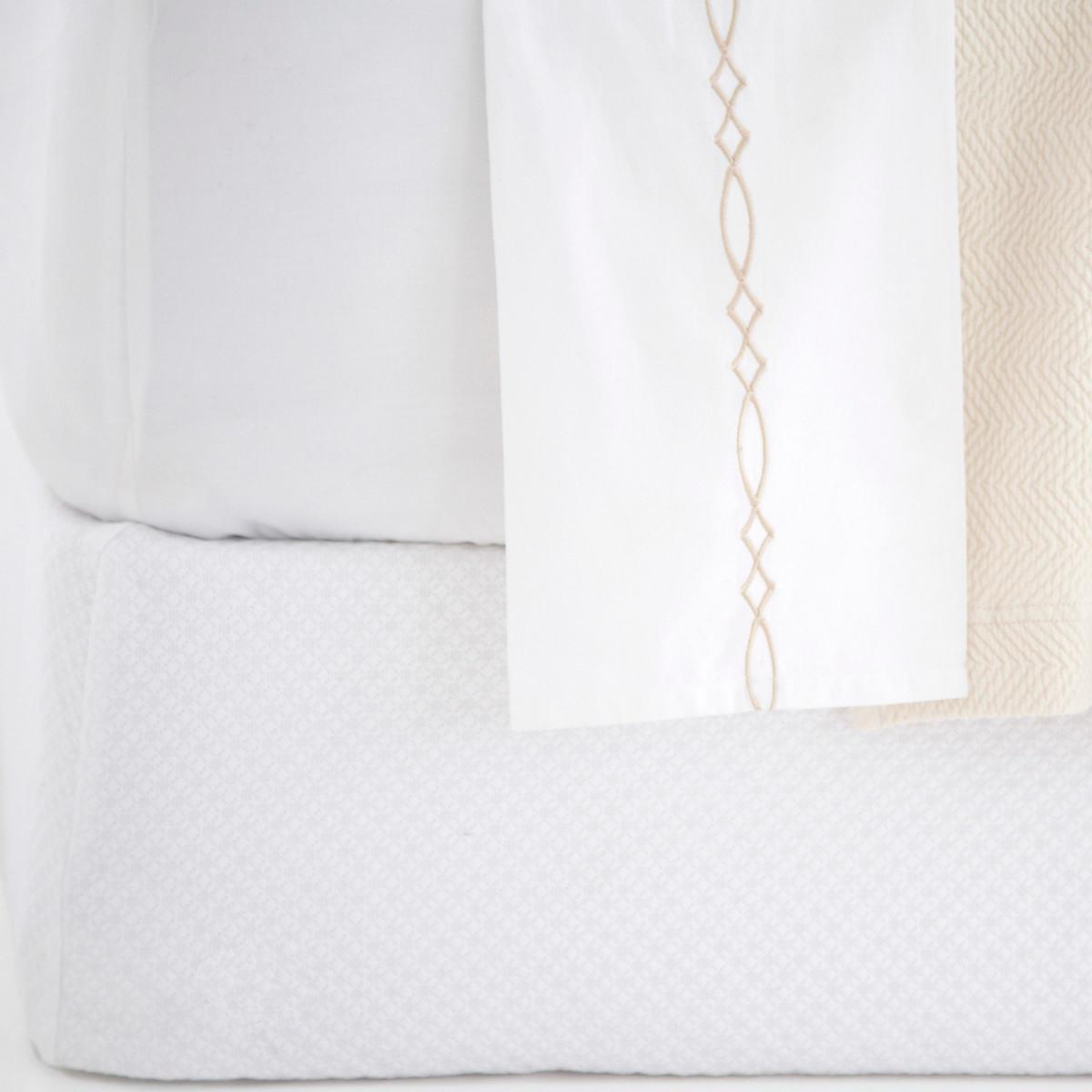 Petite Trellis White Matelassé Box Spring Cover
