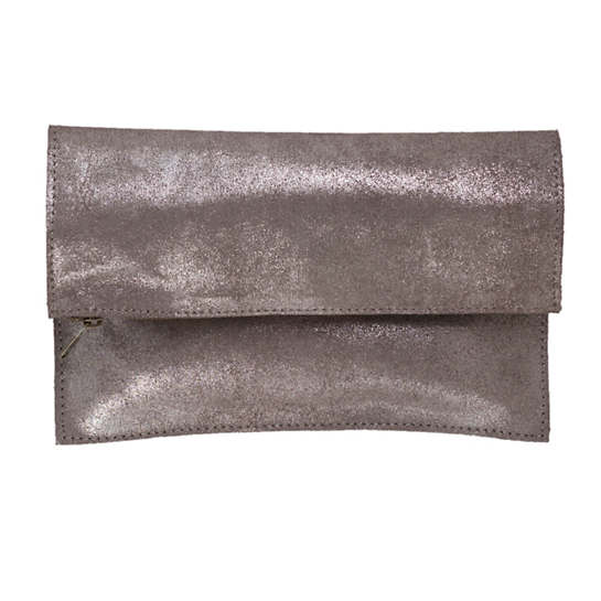 Pewter Metallic Leather Clutch