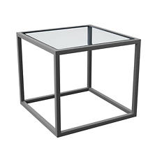 Pewter Powder Coat Stockbridge Glass Side Table