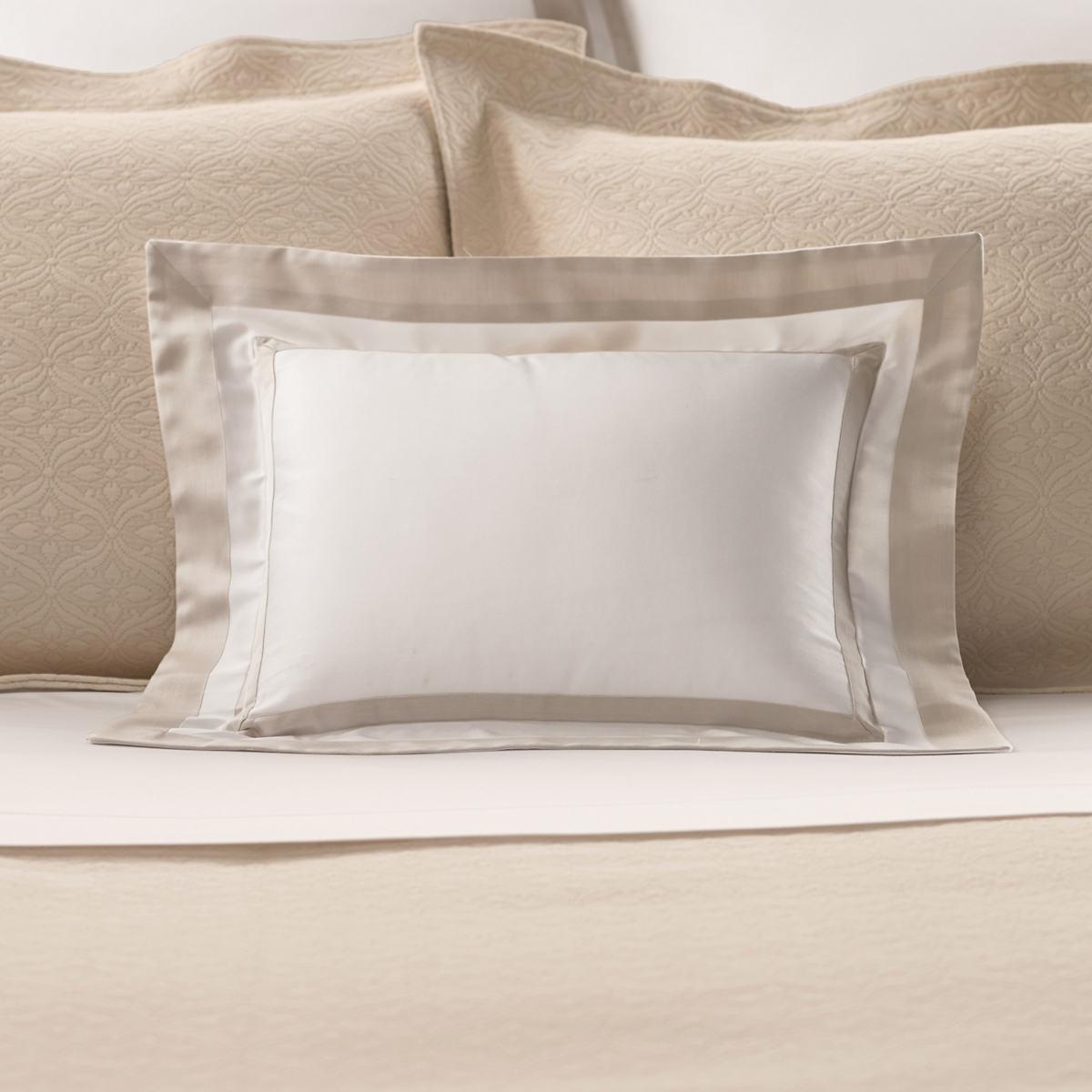 Piazza White/Sandstone Decorative Pillow Luxe