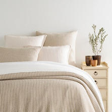 Pick Stitch Natural Matelassé Coverlet