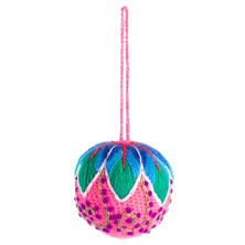 Pink Embroidered Ball Ornament
