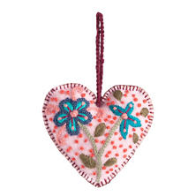 Pink Embroidered Heart Ornament
