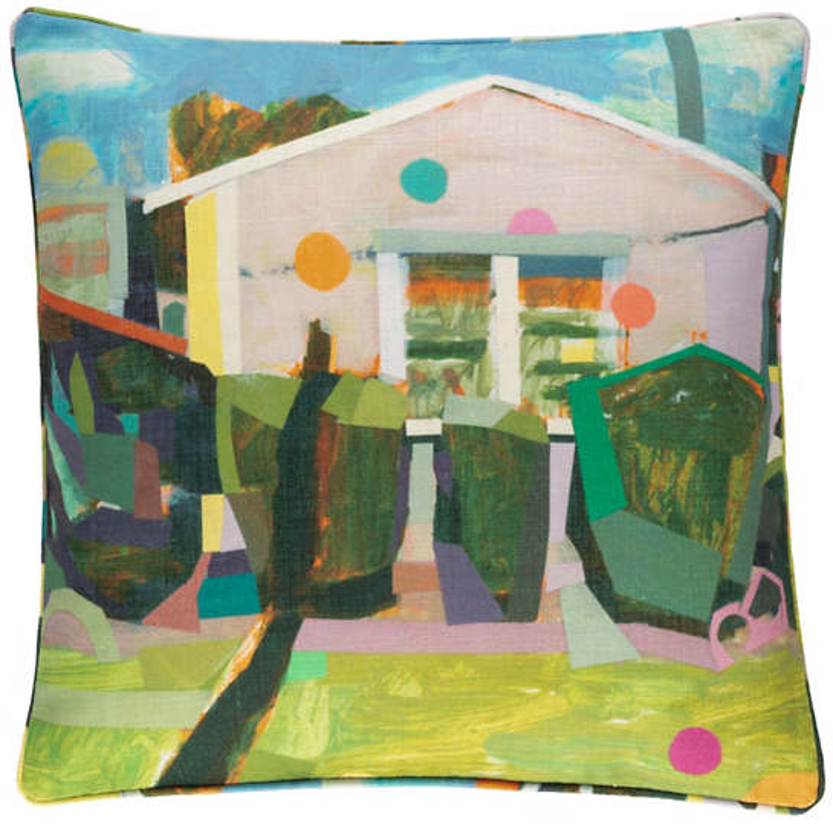 Pink House Indoor/Outdoor Decorative Pillow