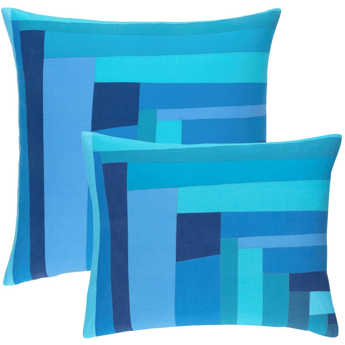Plait Patched Blue Decorative Pillow