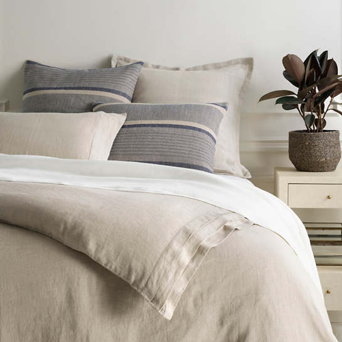 Pleated Linen Natural Duvet Cover