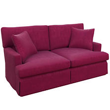 Plush Velvet Claret Saybrook 2 Seater Slipcovered Sofa