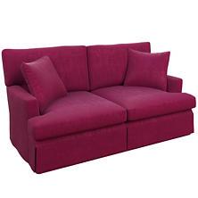 Plush Velvet Claret Saybrook 2 Seater Slipcovered Sofa