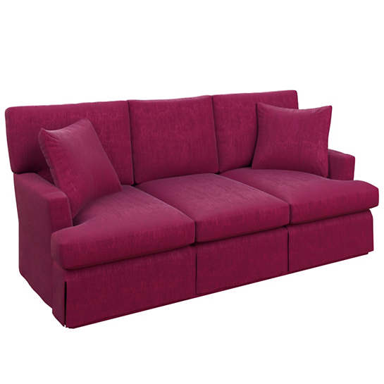 Plush Velvet Claret Saybrook 3 Seater Slipcovered Sofa