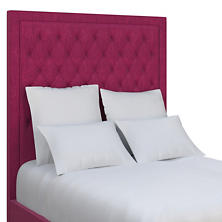 Plush Velvet Claret Stonington Tufted Headboard