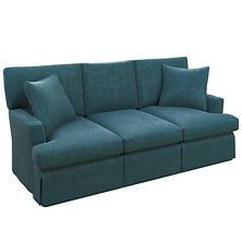 Plush Velvet Sapphire Saybrook 3 Seater Slipcovered Sofa