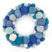 Pom Pom Blue Wreath