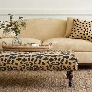 Leopard Turned Tobacco Leg Rug Ottoman