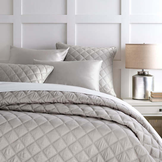 Quilted Silken Solid Grey Coverlet