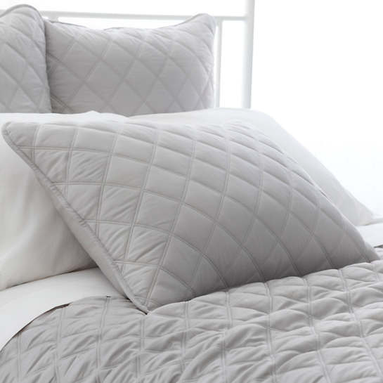 Quilted Silken Solid Grey Sham