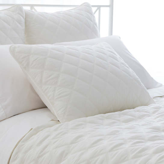 Quilted Silken Solid Ivory Sham