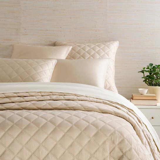 Quilted Silken Solid Sand Coverlet
