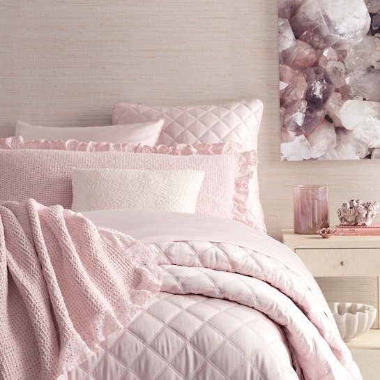 Quilted Silken Solid Slipper Pink Coverlet