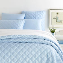 Quilted Silken Solid Soft Blue Coverlet