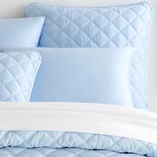 Quilted Silken Solid Soft Blue Sham