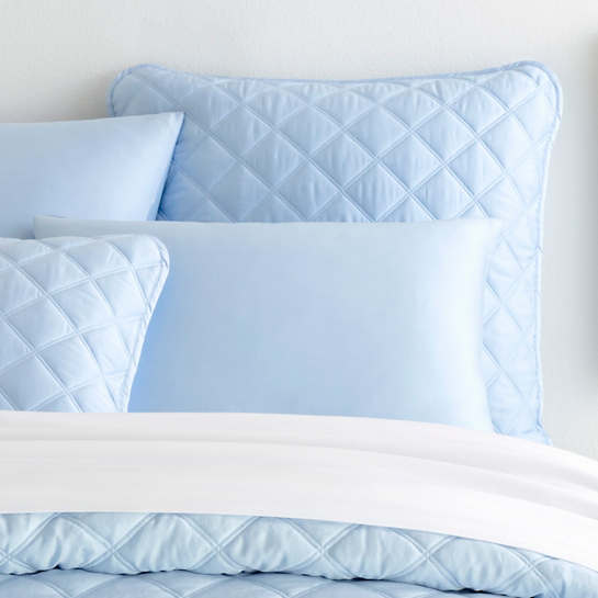 Quilted Silken Solid Soft Blue Sham