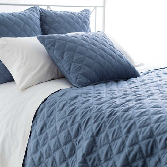 Charming Quilted Silken Solid Storm Blue Coverlet