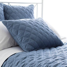 Quilted Silken Solid Storm Blue Sham