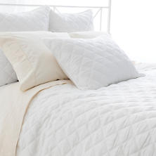 Quilted Silken Solid White Coverlet