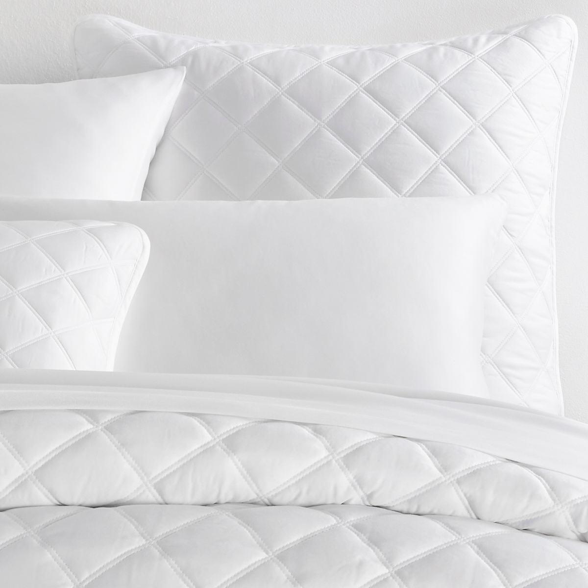 Quilted Silken Solid White Sham