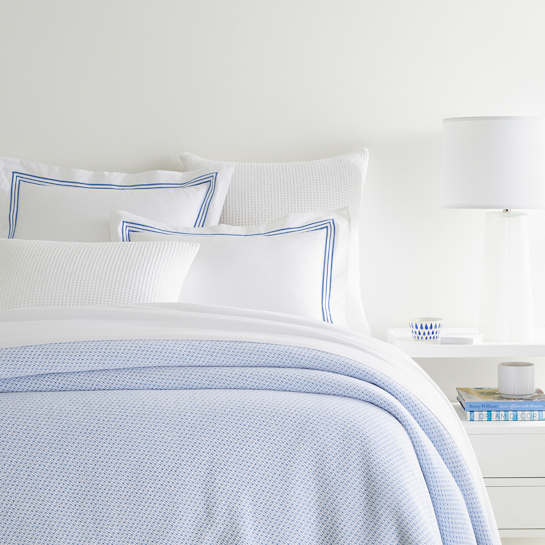 Quinn French Blue Cotton Blanket