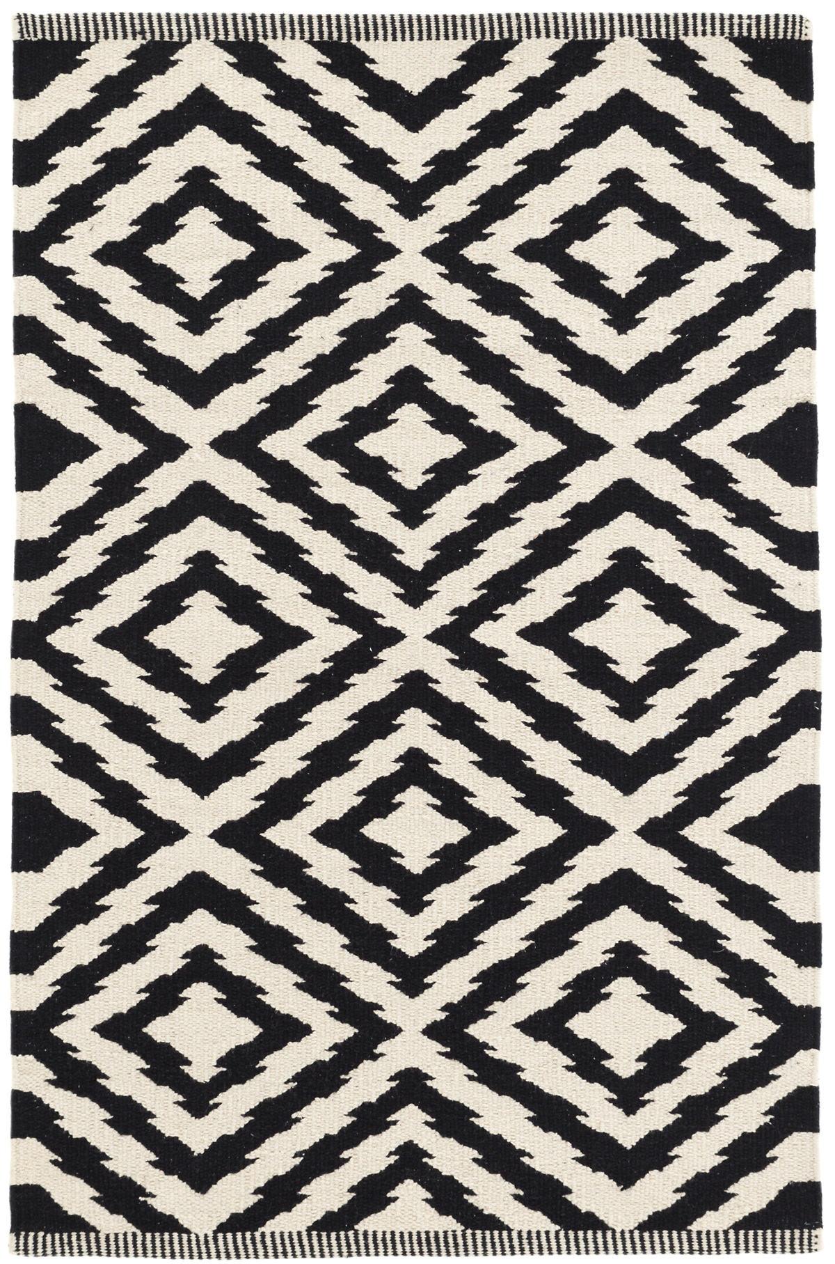 Clover Black Woven Cotton Rug