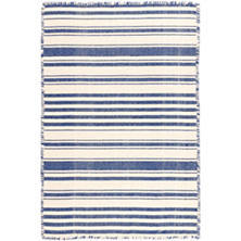 Hampshire Stripe Cobalt Woven Cotton Rug