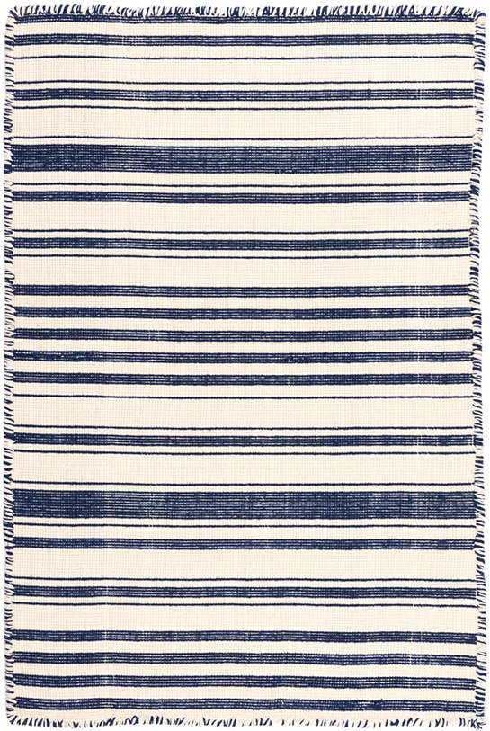 Hampshire Stripe Navy Woven Cotton Rug