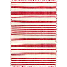 Hampshire Stripe Red Woven Cotton Rug